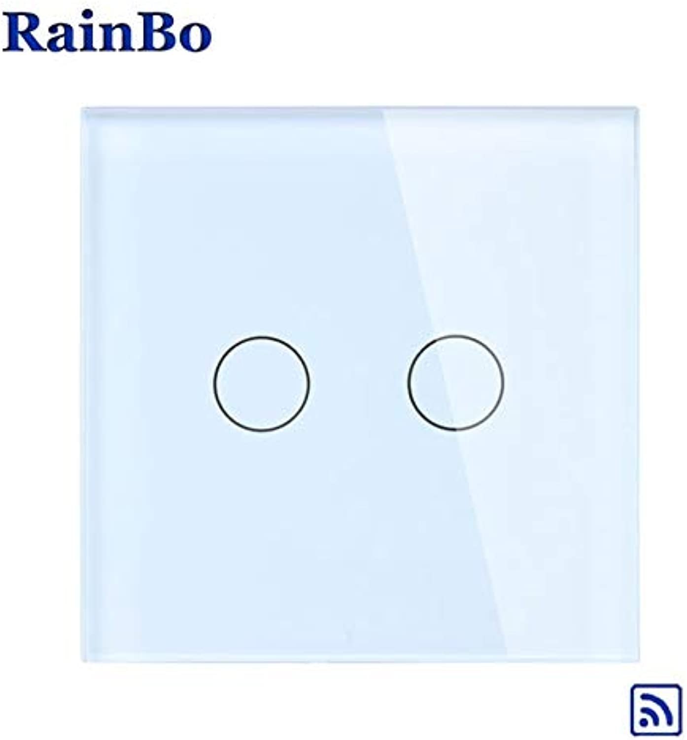 RainBo Crystal Glass Panel Switch EU Wall Switch Remote Touch Switch Screen Wall Light Switches 2gang1way LED lamp A1923CW B(color  White)