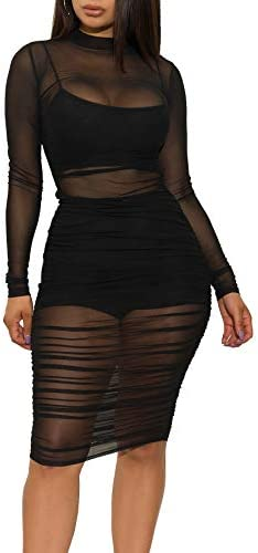 Salimdy Women s Sexy See Through Mesh Dress Spaghetti Strap Crop Top Shorts Jumpsuit 3 Piece product image