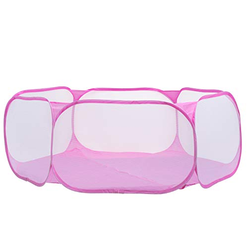 KEESIN Animales pequeños portátiles, tienda de campaña transpirable para mascotas, Pop Up Kids Ball Pit (rosa)