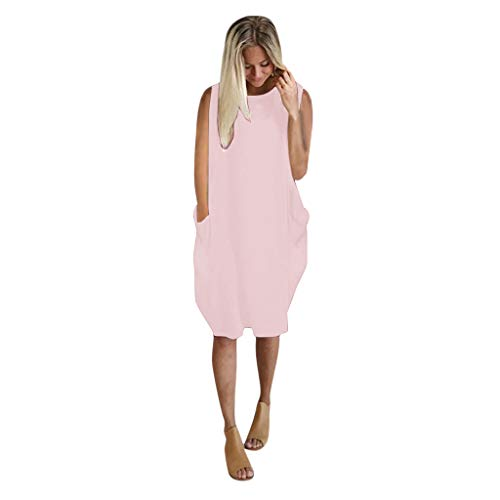 TWIFER Dresses for Women Casual Summer, Plus Size Sleeveless Mini Dress Ladies Oversized Loose Printed Dress with Pocket Pink