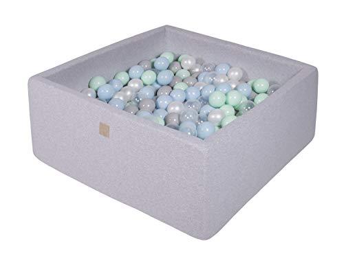 MEOWBABY Bällebad 90X90X40cm/300 Bälle ∅ 7Cm Baby Spielbad Mit Bällen Quadratisch Made In EU Hellgrau: Weiße Perle/Grau/Transparent/Minze/Babyblau