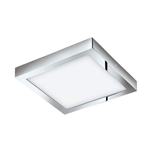 EGLO LED Deckenleuchte Fueva 1, 1 flammige Deckenlampe, Material: Metallguss, Kunststoff, Farbe: Chrom, weiß, L: 30x30 cm, warmweiß, IP44