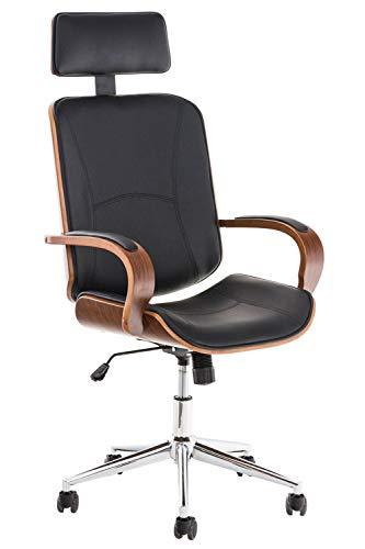 CLP Chefsessel Dayton mit Kunstlederbezug I Bürostuhl mit Kopfstütze und Leichtlaufrollen I Höhenverstellbarer Schreibtischstuhl, Farbe:walnuss/schwarz
