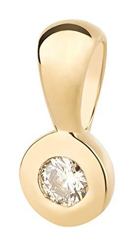 Ardeo Aurum Damen Anhänger aus 585 Gold Gelbgold mit 0,07 ct Diamant Brillant Solitär Zargenfassung