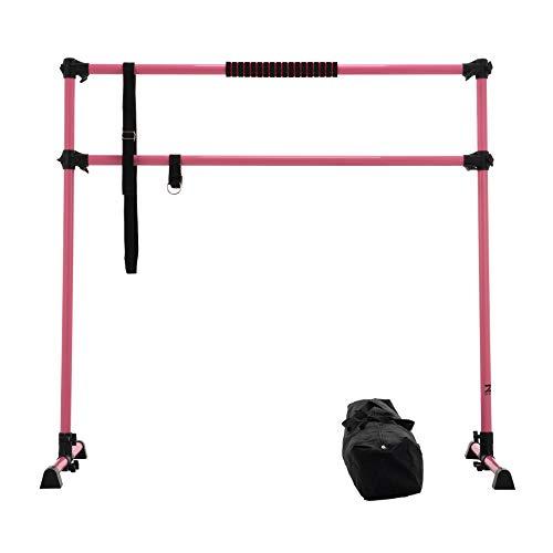 Z ZELUS Barre da Ballo Portatile Doppia Barra per Esercizi di Danza 1,5m Sbarra da Ginnastica Regolabile Allenamento di Flessibilità Fitness con Fascia Elastica e Borsa (Rosa 1,5m)
