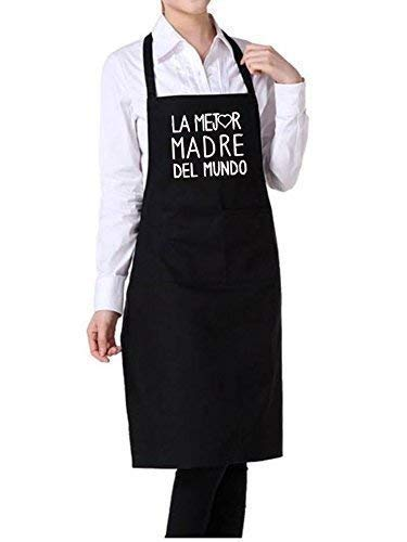 Delantal cocina personalizado para MAMA con frase' LA MEJOR MADRE DEL MUNDO'.Puedes elegir entre ROJO, GRANATE, AZUL MARINO, NEGRO Y VAQUERO