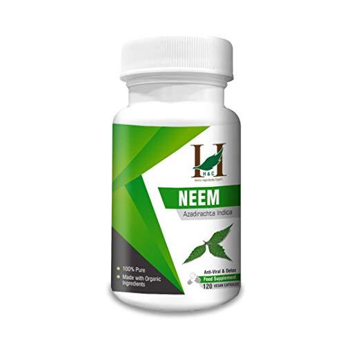 H&C Neem Capsules (Azadirachta Indica) - 900mg, 120 Counts (2 Months Supply) | Detox