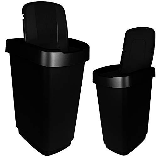 TW24 Abfalleimer 25L mit Farbwahl Mülleimer Kunststoff Abfallbehälter mit Deckel Müllsammler (Schwarz)