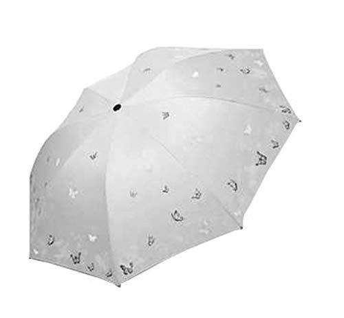 Paraguas plegable de fibra de poliéster de alta densidad con diseño de plantas y mariposas, de vinilo, triple pliegue y resistente al viento, suministros escolares