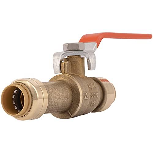 SharkBite 24735LF Slip Ball 1/2 Inch, Water Valve Shut Off, Push-to-Connect, Copper, CPVC, PE-RT, 1/2', Brass