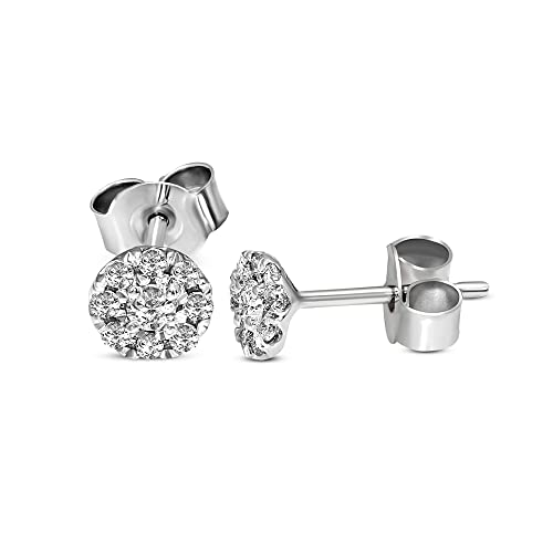 1/4 Carat | 925 Sterling Silver | IGI Certified Lab Grown Cluster Diamond Stud Earrings | Round Shape Push Back Pave Setting Friendly Diamonds Earrings | G-H Color, SI1 Clarity