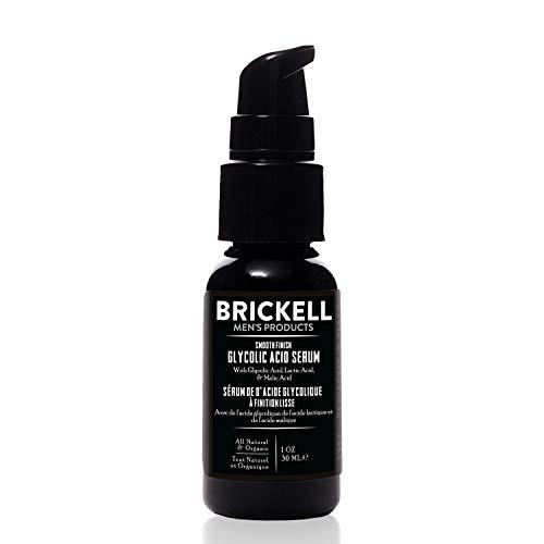 Brickell Men's Suero de Ácido Glicólico de Acabado Liso Para Hombres, Natural y Orgánico, Suero Antienvejecimiento Para Reducir Las Líneas Finas y Arrugas, 29 Mililitros, Perfumado