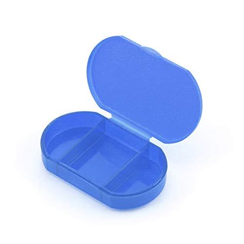 Pastillero Pequeño 3 Tomas- Caja para Medicamentos y Vitaminas con 3 Compartimentos - Ideal para Viajes y Uso Diario (Azul) 🔥