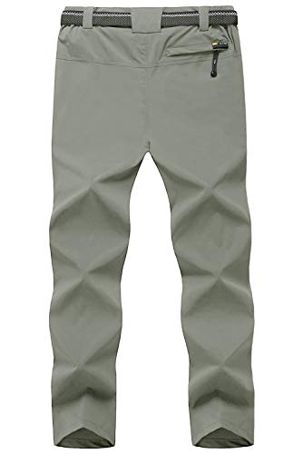 TBMPOY Men's Outdoor Lightweight Windproof Belted Quick-Dry Hiking Pants(03thin Sage Green,us M)