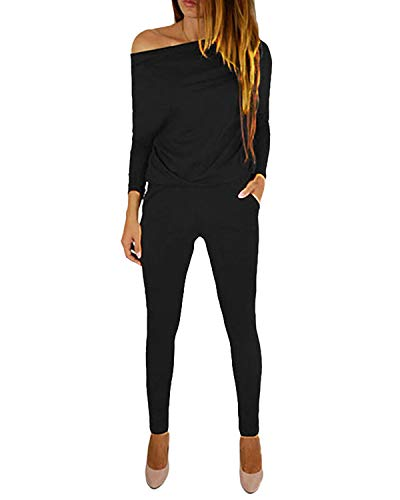 YOINS Jumpsuit Damen Elegant Langarmshirt Damen Overall Off Shoulder Strand Romper Lang Einfarbig A-schwarz L
