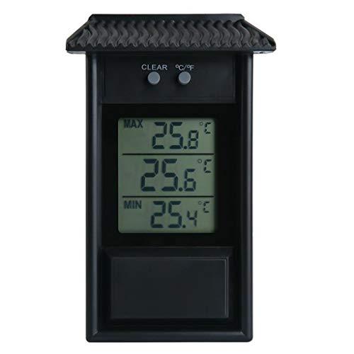 siwetg Digitales Innen-/Außen-Thermometer, wasserdicht, für Garten, Gewächshaus, Wand, Max Min Wasserdicht Außentemperatur und Luftfeuchtigkeitsmesser mit Memory-Funktion