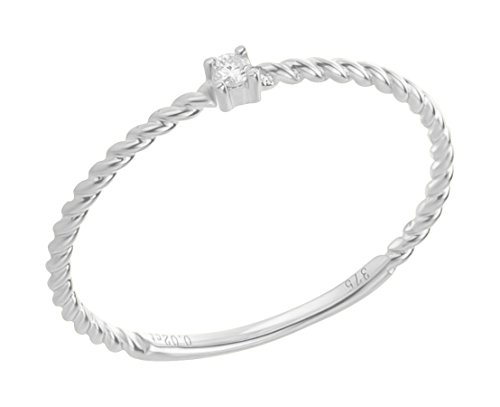 Damenring Gold 375 Weißgold Ring Diamant 0,02ct Brillant Vorsteckring gedreht 9K - Ardeo Aurum