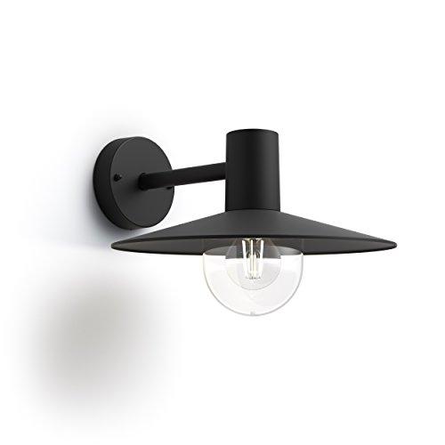 Philips myGarden Skua - Aplique de exterior, casquillo E27, 42 W, aluminio, color negro, diseñado para jardines y patios