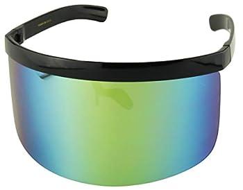 ShadyVEU Futuristic Oversized Mirrored Visor Style Full Colorful Shield Flash Mono Lens Flat Top Sunglasses  Black Frame/Green Blue Mirror Lens