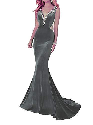 Cloverbridal Damen Sexy Meerjungfrau Abendkleider Ballkleider Samt Perlen Formelles Partykleider