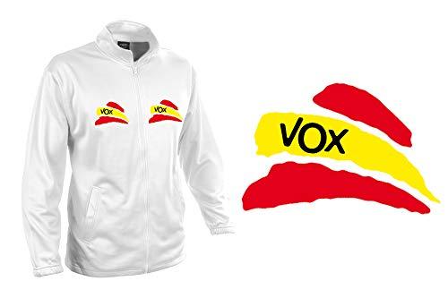 MERCHANDMANIA Chaqueta Tecnica 2 Dibujos Partido VOX Bandera ESPAÑOLA Jacket