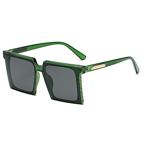 Marco cuadrado grande, espejo femenino anti-UV personalidad gran cara redonda retro gafas de sol