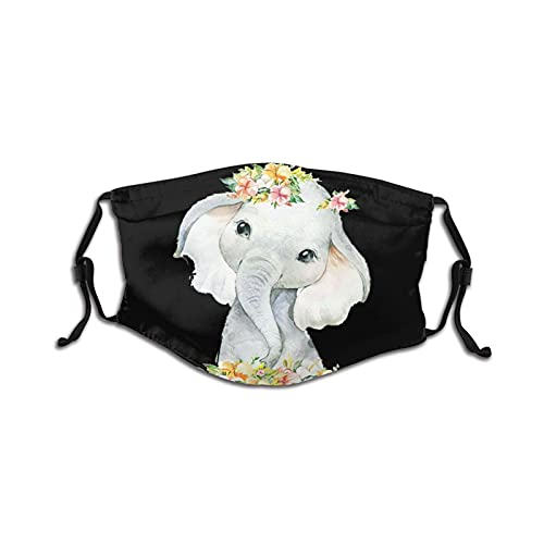 Boho Elephant Dream Big Face Mask Washable Breathable Mouth Mask With 2 Filters, For Kids &Teenage