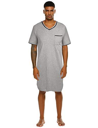 Nachthemd Herren Kurzarm Schlafanzug Nachtwäsche V-Ausschnitt Knielang Grau Schlafkleid nachthemden Kurz Pyjama mit Tasche für Männer Sommer