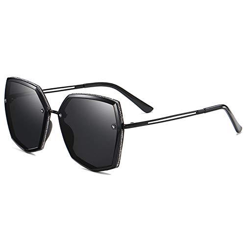 QINGZHOU Gafas De Sol,Gafas De Sol Polarizadas Para Adelgazar De Cara Redonda Con Montura Grande Para Mujer, Gafas De Sol Con Protección Uv Poligonales A La Moda, Película Negra Mate/Gris T1-2