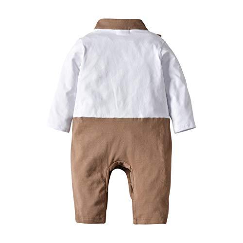 Julhold Newborn Baby Boy Moda Handsome Gentleman Pelele Manga Larga Vestidos Slim Algodón Mono Vestidos 3-24 Meses marrón 12-18 meses