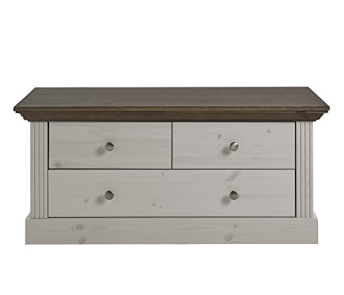 Steens Monaco Sitzbank, 3 Schubladen, 103 x 46 x 42 cm (B/H/T), Kiefer massiv, weiß grau