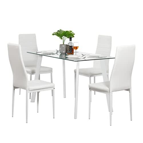 Juego de mesa de comedor caliente de 5 piezas, 4 sillas de cristal, metal, muebles de cocina, color blanco [3-5 días hábiles entrega urgente] 4 sillas mesa de comedor