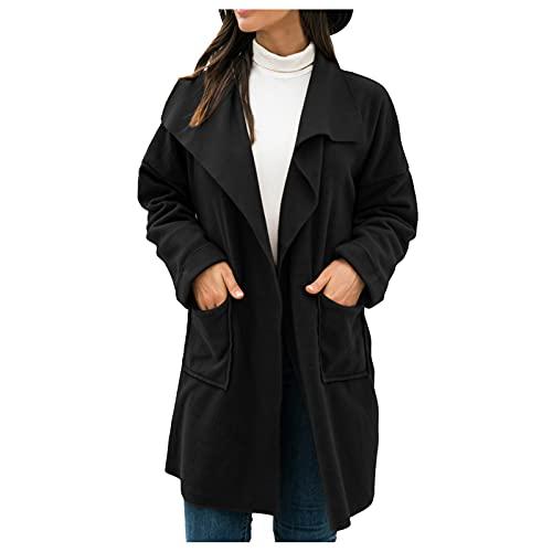 AFFGEQA Damen Langarm Cardigan Strickjacke mit Taschen Sweatshirt Einfarbig Pullover Vintage Streetwear Casual Bequem Teenager Mädchen Pulli Mantel