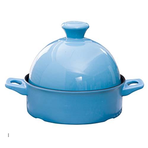 CYC Tajine Topf 20 cm Marokkanische Tagine Keramikmaterial Beständig Gegen Trockenes Brennen Verbrühschutz Frei Von Schadstoffe Langsamer Kocher Geeignet für 1-3 Personen,Blau