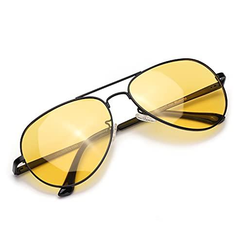 Myiaur Occhiali da Sole Lenti Gialli HD Polarizzate per Guida Notturna Antiriflesso- Protezione 100% UVA UVB (nero, giallo)