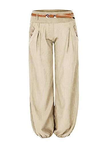Cindeyar Cindeyar Damen Haremshose Elegant Winter Pumphose Lange Leinen Hose mit Gürtel Aladin Pants,1 Hosen+1 Gürtel (S, Beige)