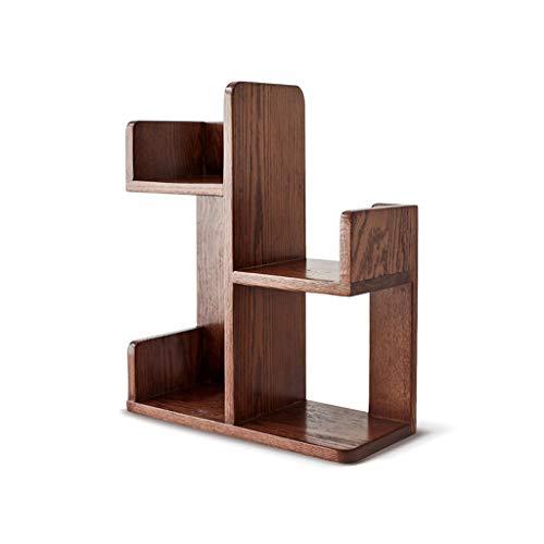 QIFFIY Librería estantería de escritorio simple estantería de escritorio sobre mesa de madera maciza niños estantería almacenamiento estante para oficina en casa