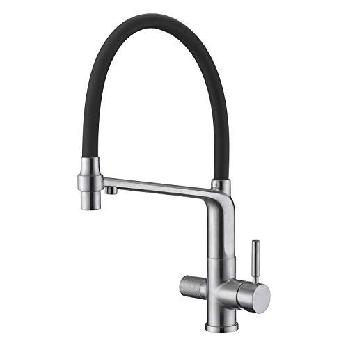 Arputhy 3 Wege Wasserhahn Küchenarmatur Herausziehbar Mischbatterie für Küchenspüle Trinkwasser OsmoseSpültischarmatur Messing mit 360° Drehbar Geschirrbrause (Gebürstet Nickel)