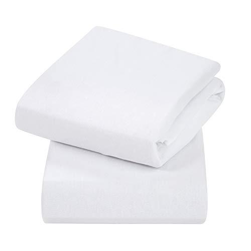Clevamama Sábanas bajeras Elásticas para colchón de Cunas 60x120 cm (2 Pk), algodón - Blanco
