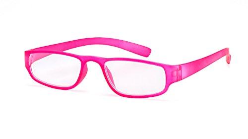 Extrem leichte Filtral Lesebrille in der Trendfarbe Pink/Moderne eckige Lesehilfe für Damen & Herren / +2,00 dpt F4520433