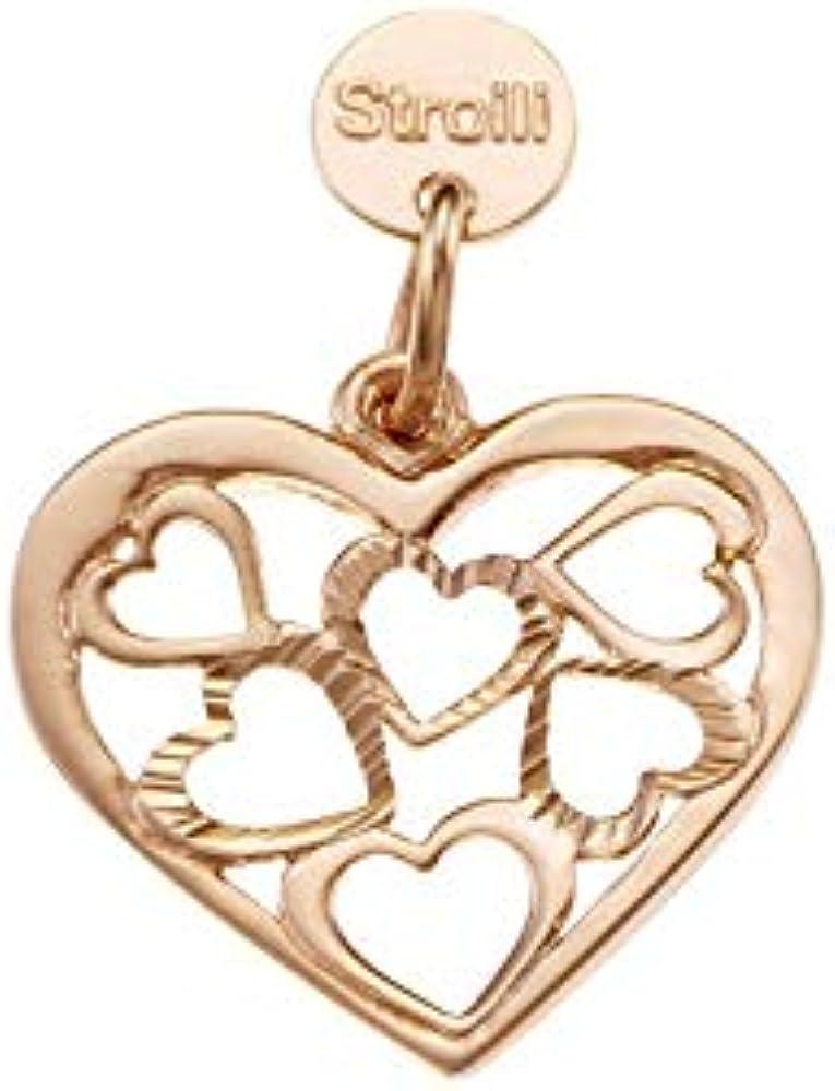 Stroili love beats cuori pendente in  argento 925/1000 ramato 1623287