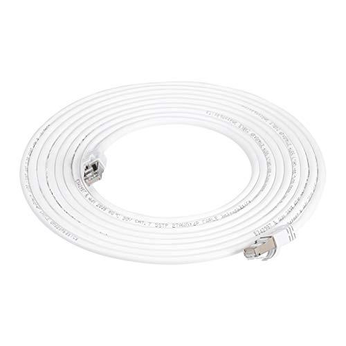 Amazon Basics - Cable para internet Ethernet Gigabit de banda ancha RJ45 Cat 7, color blanco, 4.5 m