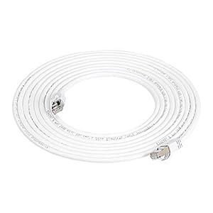 AmazonBasics - Cable para internet Ethernet Gigabit de banda ancha RJ45 Cat 7, color blanco, 4.5 m