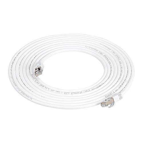 AmazonBasics - Cable para internet Ethernet Gigabit de banda ancha RJ45 Cat 7, color blanco, 11,5 m