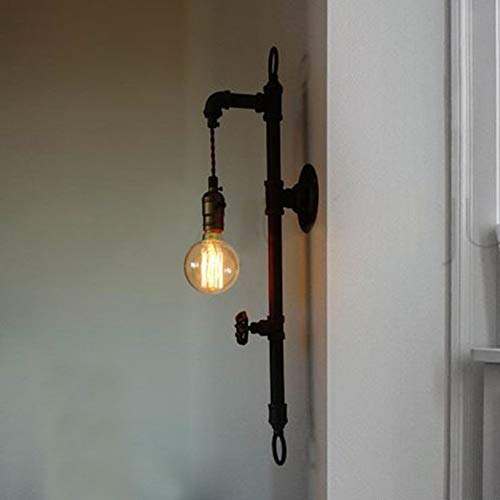 FZDLLFang Aplique de Pared Deco, Wall Industrial Aplique Edison Antiguo Simplicidad de Pared Accesorios de Sombra de iluminación, 1-Light Pipe Pared de Colgante de la lámpara, Negro