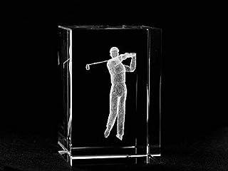 Asfour Crystal 1159-70-37 2 L x 2.75 H x 2 W in. Crystal Laser-Engraved Golfer Sports Laser-Cut