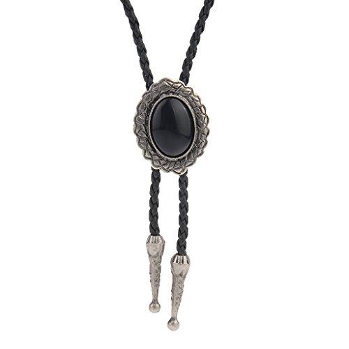 sharprepublic Colgante de Piedra de Gema de Estrella de Aleación Vintage Bola Fashion Bolo Tie Collar de Cuero - Plata y Oval Negro 4x3.2cm
