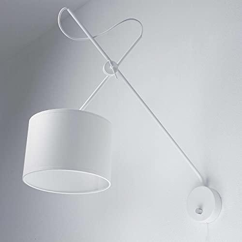 Aplique / Aplique blanco / metal y tela / flexible regulable / 1x E14 hasta 40W / Aplique con interruptor / lámpara Iluminación interior moderna de salón