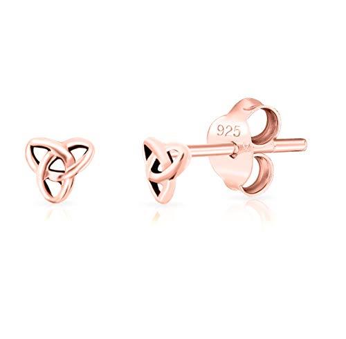 DTPsilver - Damen - Ohrringe 925 Sterling Silber und Rose Vergoldet - Keltisch Trinity Knoten - Durchmesser 4 mm