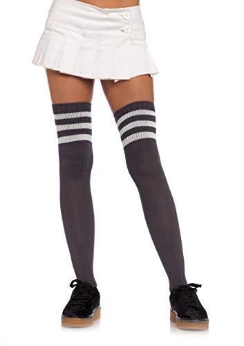 Leg Avenue Women's Athletic Three Striped Knee High Socks, Grey/White, One Size